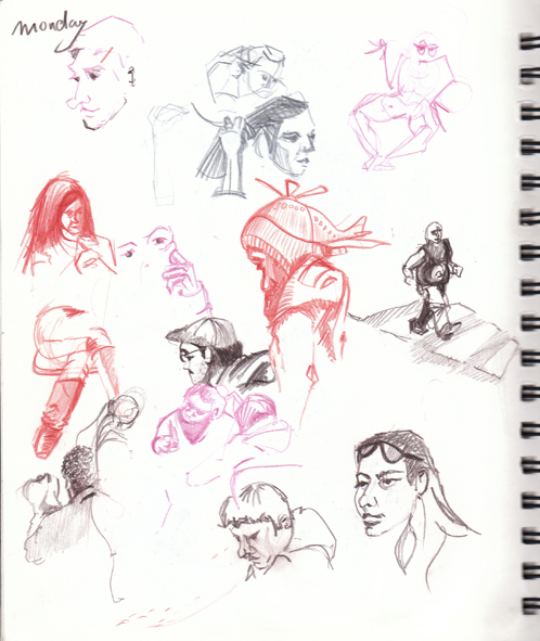 sketching in Dolores Park Cafe